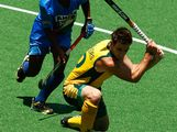 Kieran Govers of Australia competes against the Indian defence in the gold medal match between Australia and India during day five of the Australian Youth Olympic Festival at the Sydney Olympic Park Hockey Centre on January 18, 2009 in Sydney, Australia.