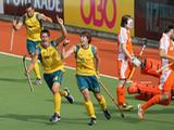 (L-R) Liam De Young, Matt Gohdes and Edward Ockenden celebrate during the match between Australia and Netherlands at the 2011 Men's Champions Trophy in Auckland, New Zealand. Their 4-2 win guaranteed them a place in the finals despite still having to play New Zealand.