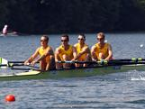 (L-R) Samuel Beltz, Benjamin Cureton, Todd Skipworth and Anthony Edwards row in the lightweight men's four the 2012 Samsung World Rowing Cup III on Lucerne Rotsee on May 25, 2012 in Lucerne, Switzerland.