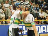 Cameron Meyer and Leigh Howard of Australia celebrate winning the Men's Madison the UCI Track World Championships at the Omnisport arena in Apeldoorn, Netherlands.
