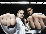 Carmen Marton (L) and Safwan Khalil (R) of the Australian Olympic Taekwondo teamat Global Martial Arts on May 18, 2012 in Sydney, Australia.