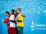 (From left to right) Silver medallist Rainer Ng of Singapore, gold medallist Homer Christian of Trinidad & Tobago, and joint bronze medallists Abdullah Altuwaini of Kuwait and Max Ackermann of Australia pose with their medals at the victory ceremony for the Youth Men's 50m Backstroke swimming final.