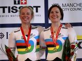 Kaarle McCulloch and Anna Meares (R) of Australia pose with their gold medals following their victory in the Women's Team Sprint Finals during day one of the UCI Track Cycling World Cup Classic at Manchester Velodrome