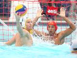 Australian captain Sam Mcgregor takes a shot at goal during Australia's 17-5 win over Brazil during the Water Polo Pan Pacs in Melbourne, VIC.