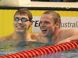 Thomas Fraser-Holmes and Ned McKendry (R) celebrate after the Men's 200 Metre Freestyle Final during day three of the Australian Swimming Championships at the South Australian Aquatic & Leisure Centre on March 17, 2012 in Adelaide, Australia.