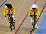 Kaarle Mcculloch (R) and Anna Meares of Australia in action during Women's Sprint Track Cycling Qualifying on Day 6 of the London 2012 Olympic Games at Velodrome on August 2, 2012 in London, England. Mike Hewitt/Getty Images