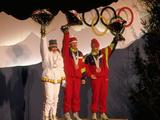 (Left to right) Marjut Lukkarinen of Finland, Lyubov Egoroya and Yelena Valbe both of the Unified Team stand on the winners podium during the medal ceremony for the 15km cross country classical event. Yegorova won the gold medal, Lukkarinen the silver and Walbe the bronze.