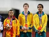 Representing Oceania Team, bronze medalists Fiji's Lepani Naivalu, John Rivan from Papua New Guinea, Australia's Nicholas Hough and Raheen Williams pose on the podium during the awarding ceremony for boys medley relay
