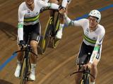 Jack Bobridge, Michael Hepburn and Dennis Rohan of Australia celebrate after taking gold in the Men's Team Pursuit during the UCI Track World Championship at the Omnisport arena Apeldoorn, Netherlands.