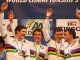 Australia celebrate on the podium after winning the gold medal in the Men's Team Pursuit on during day one of the UCI Track World Championship at the Omnisport in Apeldoorn, Netherlands.