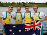 L to R, Todd Skipworth, Samuel Beltz, Blair Tunevitsch, and Anthony Edwards of Australia pose for a photo after winning a silver medal in the Lightweight Men's Four