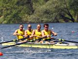 (L-R) William Lockwood, James Chapman, Drew Ginn and Joshua Dunkley-Smith row in the men's four during Day 1 of the 2012 Samsung World Rowing Cup III on Lucerne Rotsee on May 25, 2012 in Lucerne, Switzerland.