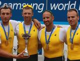 (L-R) Joshua Dunkley-Smith, Drew Ginn, James Chapman and William Lockwood of Autsralia win the Men`s Four final during the 2012 Samsung World Rowing Cup III at the Ruderregattastrecke on June 17, 2012 in Munich, Germany.