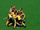 Australian players celebrate after winning in extra time against India in the Mens gold medal match between Australia and India during day five of the Australian Youth Olympic Festival at the Sydney Olympic Park Hockey Centre on January 18, 2009 in Sydney, Australia.