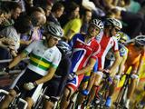 The competing athletes in the Men's Madison line up for the start during the UCI Track Cycling World Cup Classic at the Manchester Velodrome