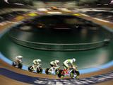 Jack Bobridge, Mitchell Docker, Leigh Howard and Travis Meyer of Australia in action during qualifying for the Team Pursuit at the UCI Track Cycling World Cup Classic at the Manchester Velodrome