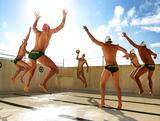 Thomas Whalan (C), Joel Dennerley, James Clark, Aidan Roach, Johnno Cotterill and Richie Campbell of the Australian Waterpolo Team at Bondi Icebergs on May 31, 2012 in Sydney, Australia.