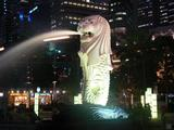 The Merlion in Merlion Park near the Singapore CBD is a well-known tourist icon of Singapore. It looks across Marina Bay to where the Opening Ceremony will be held.