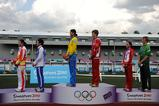 Gold medalists Anastasiya Spas of Ukarine, Ilya Shugarov of Russia, silver medalists Zhu Wenjing of China and KIM Dae Beom of South Korea, bronze medalists Gulnaz Gubaydullina of Russia and Lukas Kontrimavicius of Lithualia attend the awarding ceremony of the Mixed Relay of Modern Pentathlon