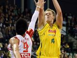 Luke Nevill shoots over Sun Yue of China during the international friendly match between the Australian Boomers and China in Perth.