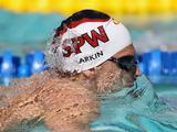 Mitchell Larkin competes in the men's 200 meter IM during day 4 of the Santa Clara International Grand Prix in California.