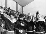 Innsbruck 1964: Crown Prince Harald of Norway (2nd from left) poses with Norwegian skaters (left to right) Knut Johannesen, Per Ivar Moe and Fred Anton Maier, who won the gold, silver and bronze medals in the men's 5000m speed skating.