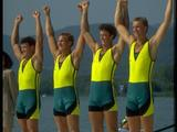 The 'oarsome foursome' Andrew Cooper, Michael McKay, Nick Green and James Tomkins of Australia throw their arms in the air to celebrate their victory in the men's coxless fours final.
