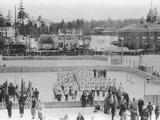 Lake Placid 1932: National Delegations parading in the Olympic Stadium during the Opening Ceremony.