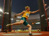 Dani Samuels competes in the Women's Discus Final at the National Stadium during the Beijing 2008 Olympic Games.