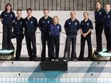 (L-R) Australian divers Chantelle Newbery, Scott Robertson, Matthew Mitcham, Melissa Wu, Sharleen Stratton, Alexandra Croak and Briony Cole pose after being named as members of the Australian Diving team to compete at the 2008 Beijing Olympics in Brisbane.