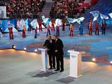 Russian President Vladimir Putin and IOC President Jacques Rogge hit the countdown button during the 'Sochi 2014 - One Year To Go' ceremony at Bolshoi Ice Dome on February 7, 2013 in Sochi, Russia.