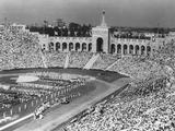 Los Angeles 1932: Filled with athletes and spectators, the Coliseum Stadium during the Opening Ceremony.