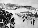 Lake Placid 1932: The United States Olympic team passing by Governor Franklin Delano Roosevelt during the procession at the Opening Ceremony.