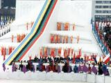 An overall view of the Opening Ceremony at the Winter Olympic Games.