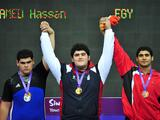 (Left to Right) Silver medalist Gor Minasyan of Armenia, Gold medalist Alireza Kazeminejad of Iran and Bronze medalist Hassan Mohamed of Egypt.