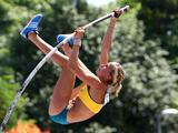 Elizabeth Parnov of Australia competes in the Pole Vault Qualification at the Bishan Stadium on day three of the Youth Olympics.