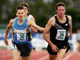 Paul Hoffman of NSW beats David Campbell of Ireland to the line by to win the Men's 1500 Metres during the Graeme Briggs Memorial Track Classic at the Domain Athletics Centre in Hobart, Australia.