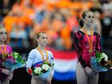 Lauren celebrates winning Gold on the Floor event during the Apparatus Final of the 42nd Artistic Gymnastics World Championships 2010 in Rotterdam, Netherlands.