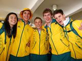 Australian athletes pose for a photo during the Australian Youth Olympics Team Departure at the Sydney International Airport