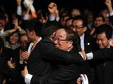 South Korea's president Lee Myung Bak (L) embraces Korean Olympic Committee President Yong Sung Park as PyeongChang is choosen as the host city for the 2018 Olympic Winter Games during the 123rd IOC session on July 6 in Durban, South Africa. The annual general meeting of the members of the International Olympic Committee held in Durban choose the host city from three candidate cities, Munich, Annecy and PyeongChang.