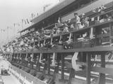 Los Angeles 1932: General view of the central press stand in the Olympic Stadium. The news was brought to the correspondents by electric writing machines.