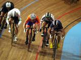 (l to r) Edward Dawkins (New Zealand), Shane Perkins (Australia), Teun Mulder (Netherlands), Maximilian Levy (Germany) and Mickael Bourgain (France) race for the line in the second round of the Men's Keirin during the UCI Track World Championships at the Omnisport arena in Apeldoorn, Netherlands.