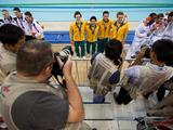 (Left to Right) Germany, Australia and France winners of the bronze, gold and silver medals in the Youth Men's 4 X 100M Medly Relay are seen posing for photographers after the medal ceremony.