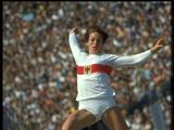 Munich 1972: Multiple medal winner, Heide Rosendahl of West Germany in mid flight during the long jump wins the gold medal with a jump of 6.78 metres. She was also part of the women's 4x100m relay team which won gold.