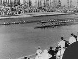 Los Angeles 1932: Spectators cheer on the competitors in the coxed eights final where the USA won the gold medal, Italy the silver and Canada the bronze. Great Britain finished fourth.