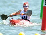 Natalia Podolskaya of Russia competes in the Obstacle Canoe Slalom K1 Women Round 1