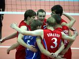 Players of Russia celebrate during the Boys Volleyball Preliminary match between Russia and Democratic Republic of Congo