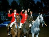 (L-R) Matthew Ryan, Andrew Hoy and Gillian Rolton of Australia celebrate after winning gold in the equestrian three-day event. Ryan also won the individual gold.