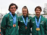 Thomas Vincent, Carissa Bridge and Mark Spearman with their medals at the 2015 Pacific Games.