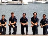 (L-R) Jessica Crisp, Tom Slingsby, Malcolm Page, Iain Jensen, Mathew Belcher and an absent Nathan Outteridge were announced  in the 2012 Australian Olympic Sailing Team in Brisbane, Australia. They join swimmers Melissa Gorman and Ky Hurst as the only athletes selected so far for London.